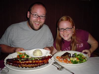 "Delicious dinner at Diggers. Danno had, obviously a rack o' ribs. And I enjoyed my small steak, jumbo shrimp and steamed veggies. We both also had garlic mashed potatoes.... *drool*... now that's true Wisconsin ""steak house/supper club"" food! Viva LaCrosse! Also: margaritas, anyone?"