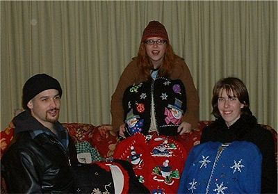 Adult Children Of  Blackhawk Church: Joshufoid (a.k.a. Joe-Joe), Menard, and Glew celebrate the season by dressing up ho-hum throw pillows with Jaunty Christmas Sweaters! HO HO HO!