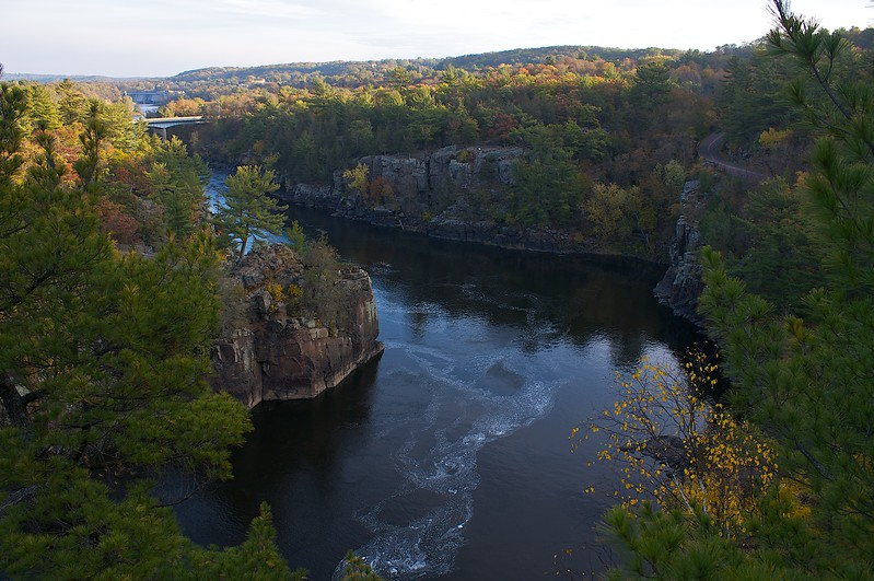 From Summit Rock above the Dalles of the St. Croix River at sunrise.