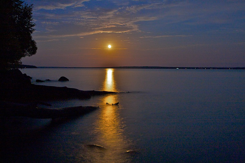 Moon rise Lake Superior. That's Madeline Island in the distance.