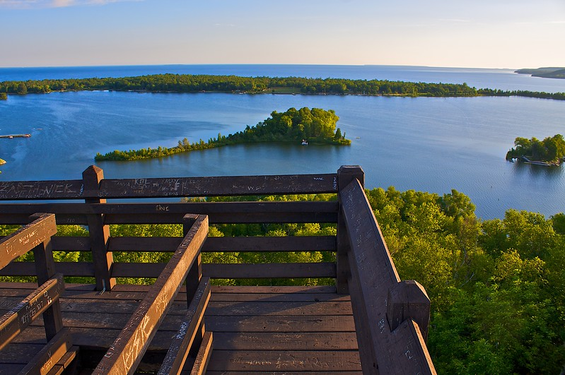 Sunrise from the top of the Observation Tower...Potawatomi State Park Wisconsin.