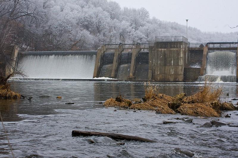 Below the dam.
