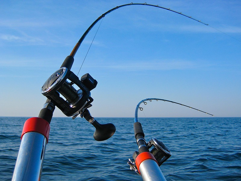 Fishing Lake Michigan.