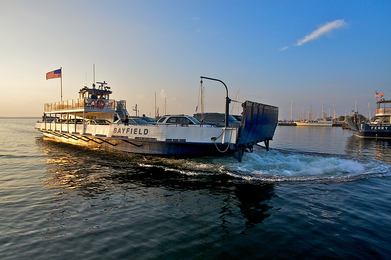 The first ferry from Madeline Island to arrive in Bayfield at sunrise.