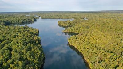 Drone shot above Lake Owen