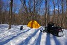 Campsite in sunshine.