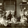 Helena Rossing in her millinery shop in 1907.  Viola Rossing is seated right.