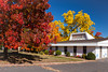 The Faith Baptist Church with fall foliage color in Bayfield, Wisconsin, USA.