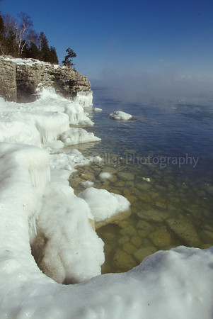 Door County, Ice Formations on Cave Point, Cliffs