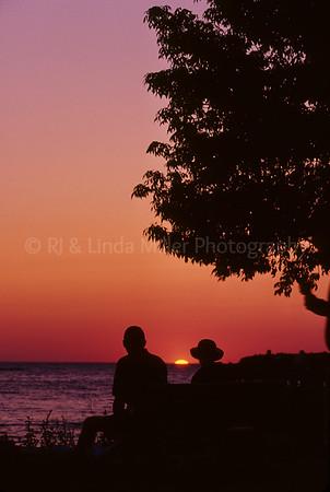 Door County, Tourists Watching Sunset Over Eagle Harbor, Lake Michigan, Ephraim