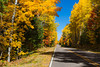 A highway with brilliant fall foliage color near Minocqua, Wisconsin, USA.