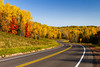 Highway 13 with fall foliage color in northern Wisconsin, USA.