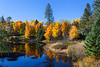 Reflections of fall foliage color in a small lake in northern Wisconsin, USA.