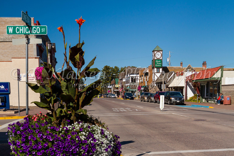 The main street of Minocqua, Wisconsin, USA.