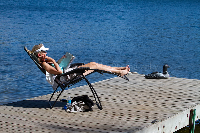 Bayfield County, WI, Woman Reading on Dock