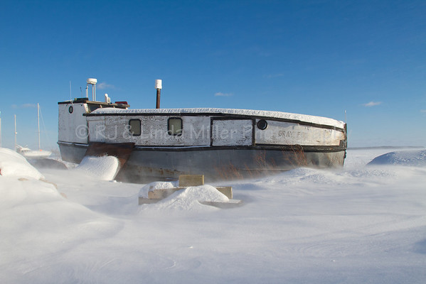 Gray Fox Fishing Tug in Blowing Snow, Bayfield County, Wisconsin