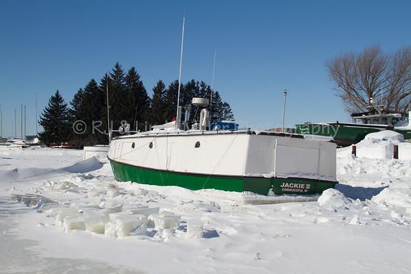 Jackie II on Frozen Lake Superior, Bayfield County, Wisconsin