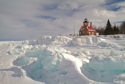 107019 Sand Island Lighthouse, Ice Formations, Apostle Island National Lakeshore, Lake Superior, Wisconsin