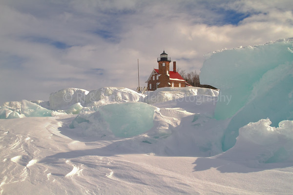 Sand Island Lighthouse, Ice Formations, Apostle Island National Lakeshore, Lake Superior, Wisconsin
