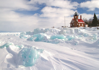107012 Sand Island Lighthouse, Ice Formations, Apostle Island National Lakeshore, Lake Superior, Wisconsin