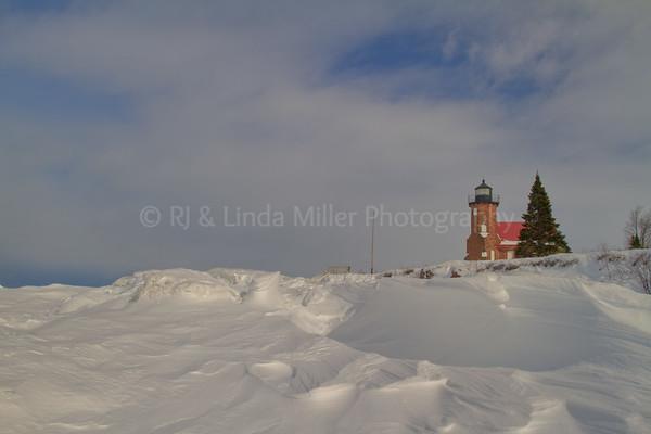 Sand Island Lighthouse, Ice Formations, Apostle Island National Lakeshore, Lake Superior, Wisconsin
