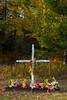 A roadside cross shrine near Minocqua, Wisconsin, USA.