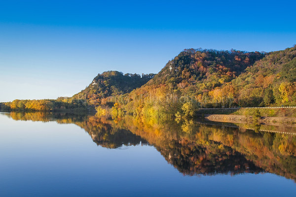 Crawford County, WI, Mississippi River and Bluff Reflections