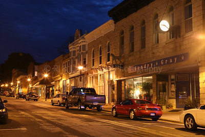 Mineral Point Downtown at Night, Iowa County, Mineral Point, Wisconsin, Southwestern Wisconsin, Artist Community