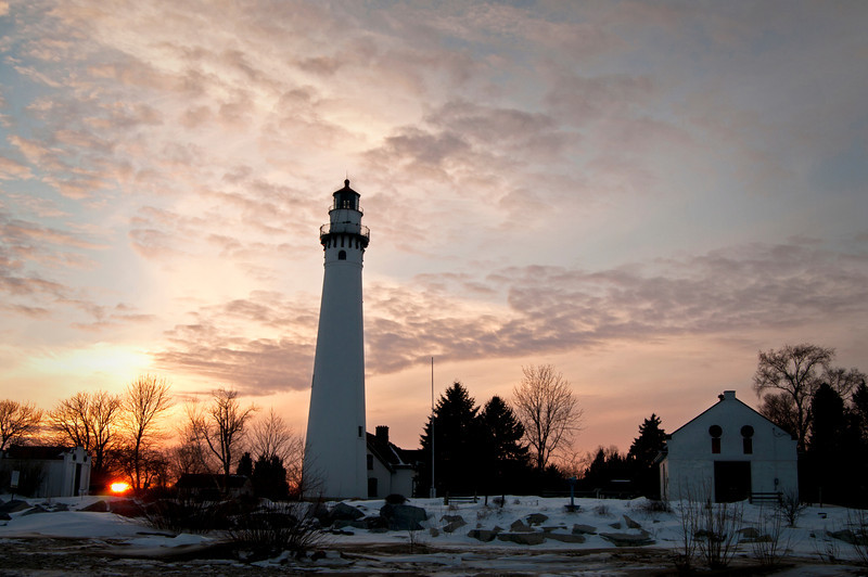 WI 118                          Sunset at Wind Point Lighthouse near Racine, Wisconsin.