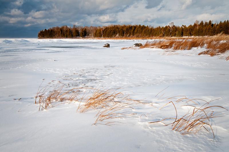 WI 108                         Sunset light on marsh grasses along the frozen shore of Weborg Marsh, Peninsula State Park, Door County, Wisconsin.