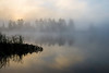 WI 121      Fog enshrouds the shoreline of Little Bearskin Lake at sunrise on a crisp September morning in the Northwoods.
