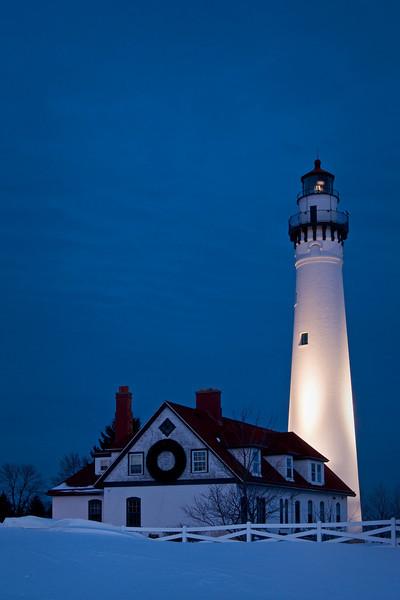 WI 089                             Dusk at Wind Point Lighthouse near Racine, WI.