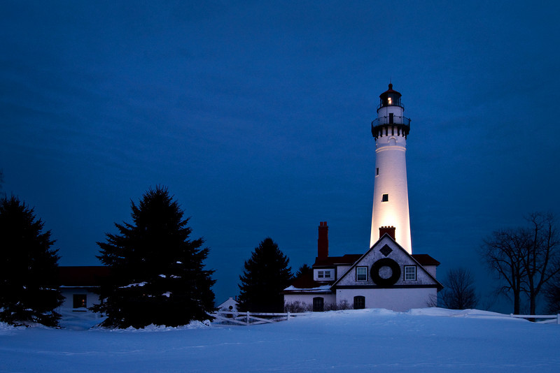 WI 088                           Dusk at Wind Point Lighthouse near Racine, WI.