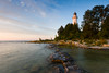 In times when the water level around Cana Island is low, narrow ledge surfaces. From this ledge one can look back at the island and imagine what the sailers would have seen as the approach from the waters of Lake Michigan.  Cana Island, WI<br /> <br /> WI-080830-0030