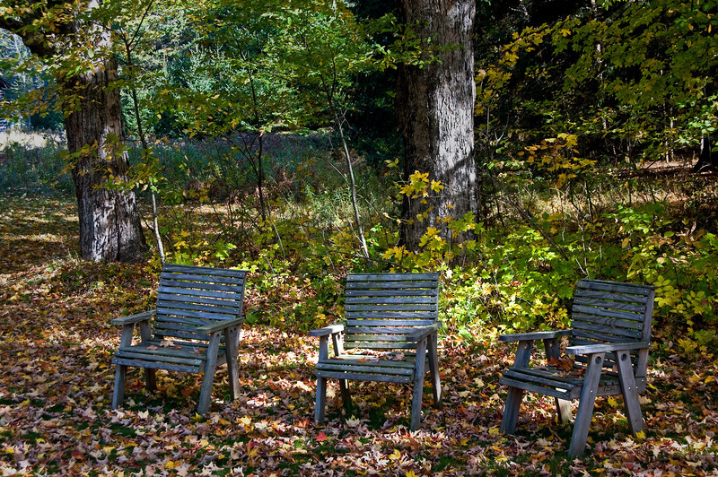 WI 051                              Rustic chairs invite visitors to the Upper Rangelight to relax under the maple trees at Bailey's Harbor in Door County, Wisconsin.