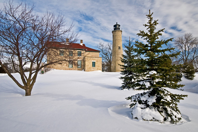 WI 111                           A winter morning at South Port Lighthouse in Kensha, Wisconsin.