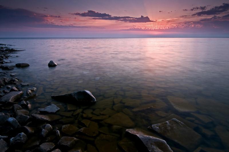 WI 030                                 Sunset at Door Bluff County Park in Door County, Wisconsin.