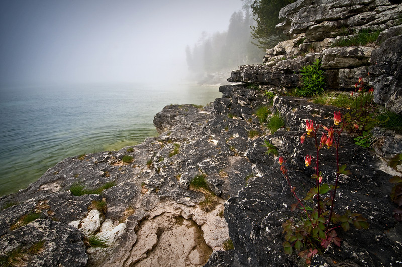 WI 005                                Fog rolls in along the rocky shoreline of Cave Point County Park in Door County, Wisconsin.
