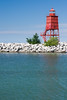 Racine breakwater light in summer. Racine, WI<br /> <br /> WI-080811-0225
