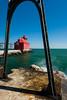 The catwalk frames the Strugeon Bay Pierhead Light. Sturgeon Bay, WI<br /> <br /> WI-080901-0161