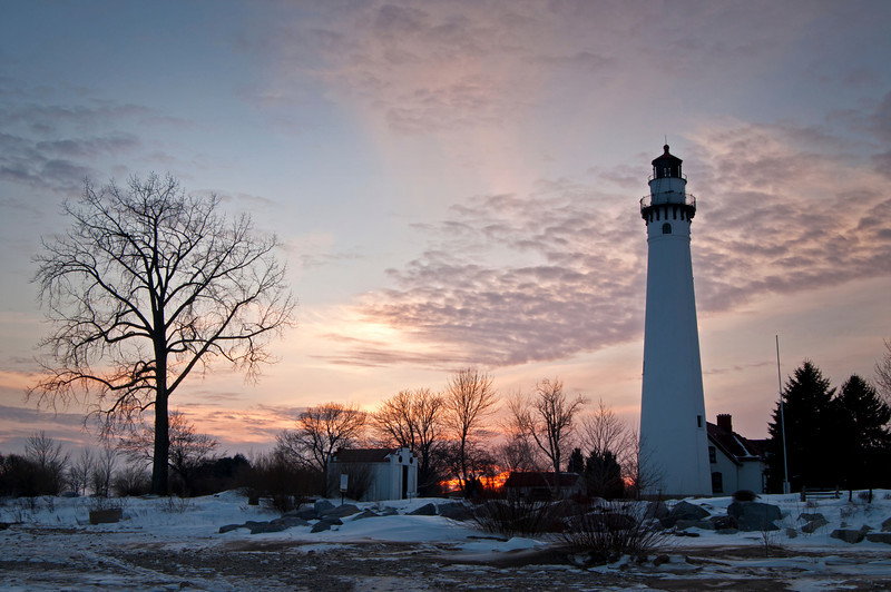 WI 116                             Sunset at Wind Point Lighthouse near Racine, Wisconsin.