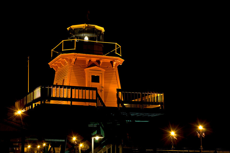 WI 071                               A night time view of the lighthouse at Two Rivers, Wisconsin.
