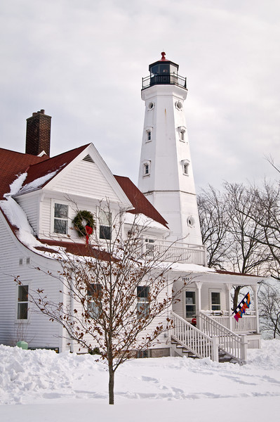 WI 112                          Winter at North Point Lighthouse near Milwaukee, Wisconsin.