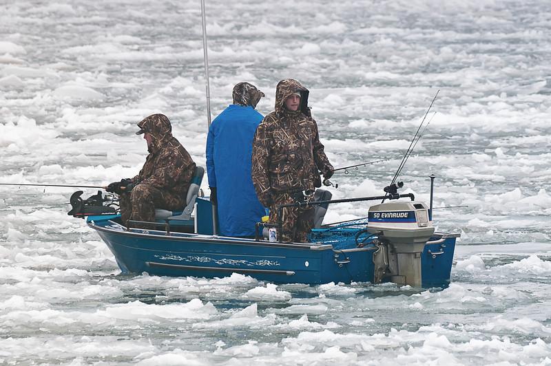 Fisherman brave the harsh elements
