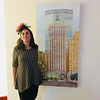 "Artist Anna Herrick with her painting, ""Crossing Park Avenue"""
