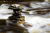 Flat Rocks Stacked in a River
