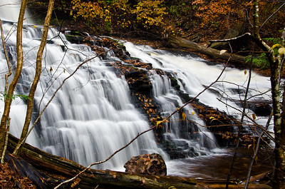 Waterfall Deep in the Autumn Forest
