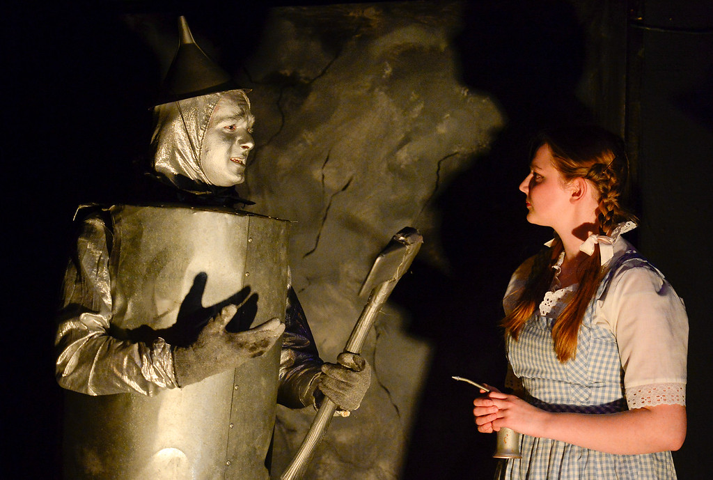 . LONGMONT, CO - APRIL 16:Darec Goheen, as Tin Man, and Anna Ramsey, as Dorothy, during a rehearsal for Wizard of Oz at Jesters Dinner Theater in Longmont on April 16, 2019. (Photo by Matthew Jonas/Staff Photographer)