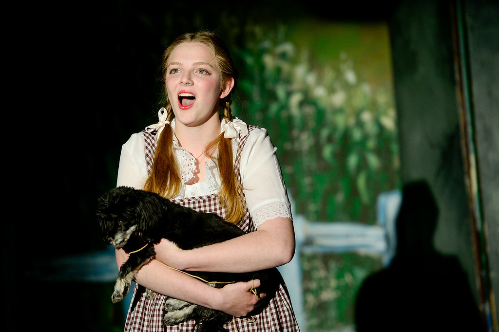 . LONGMONT, CO - APRIL 16:Anna Ramsey, as Dorothy, holding Lily, as Toto, during a rehearsal for Wizard of Oz at Jesters Dinner Theater in Longmont on April 16, 2019. (Photo by Matthew Jonas/Staff Photographer)