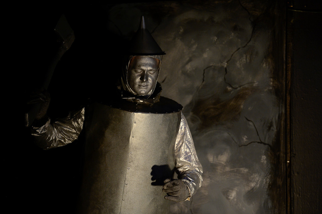 . LONGMONT, CO - APRIL 16:Darec Goheen, as Tin Man, during a rehearsal for Wizard of Oz at Jesters Dinner Theater in Longmont on April 16, 2019. (Photo by Matthew Jonas/Staff Photographer)
